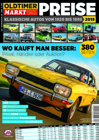 Sonderheft 63: Preise - Klassische Autos von 1920-1995 Erscheinungsjahr 2019