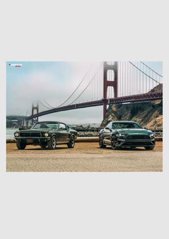 """Poster Ford Mustang GT 390 Fastback """"The Real Bullitt"""", 1968 Ford Mustang Bullitt, 2018"""